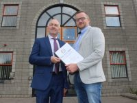 Tralee Chamber Alliance President Aidan Kelly and TCA Marketing Consultant Ken Tobin at Kerry County Council to hand in the Chamber's submission on the Tralee Draft Plan 2018-2024. Photo by Dermot Crean