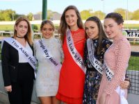 Kerry Rose contestants Laura Bourke (The Ashe Hotel), Sarah Leahy (Dingle Bay Hotel), Celine O'Shea (St Luke's Home), Mairead Browne (Nicholas Browne & Sons Ltd) and Patricia Kerins (Divanes Volkswagen) at Kingdom Greyhound Stadium on Saturday night. Photo by Will Nolan