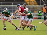 A battle for the ball in midfield. Photo by Dermot Crean
