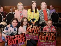 At back; Catherine Goggin, Amy Goggin and Oonagh Ferris. In front; Aisling McHale, Emma Goggin and Ríona McGrath at the 'Silence Is Golden Lippy Sing' event in the Ballyroe Heights Hotel on Friday night. Photo by Dermot Crean