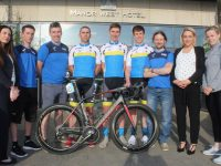 Leighanne Moore of the Manor West Hotel, Stevie Griffin, team manager Daithi Creedon, team members Paul Kennedy, Cormac Daly, Cathal Moynihan, Shane Courtney, Leonie Flaherty of The Ashe Hotel, Angela O'Mahony of Manor West Hotel Leisure Centre at the launch of the Tralee Manor West Rás team at the hotel on Friday evening. Photo by Dermot Crean