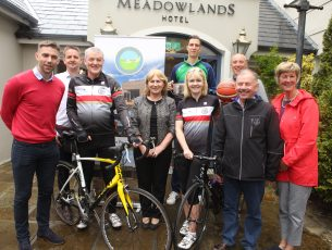 Pictured at the launch of The Meadowlands Hotel 20th Anniversary Festival in aid of Kerry Hospice Foundation which takes place in Tralee 15th-17th June, is (L to R) Marc Ó Sé, Brian O'Se, Dave Elson, Peigí O'Mathúna of Meadowlands Hotel, Avril Hewett, Joe Hennebry, Maura Sullivan of Kerry Hospice Foundation and (back row) Dusan Bogdanovic and Kieran Donaghy.