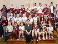 Some of the children learning music at Moyderwell with Principal Moira Quinlan, music teacher Lucy Tanner and Deputy Principal Máire Jones. Photo by Dermot Crean