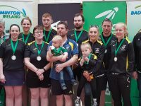 The All-Ireland Inter Club Finals took place in UL Limerick Sunday 13 May  The  Moyvane Club represented Kerry and Munster in Grade E where they were runners Up and brought home Silver Medals, This photograph shows the team as follows: L/R, Betty Thompson,President Badminton Ireland, William Flaherty, Denise Collins, Helen Browne, Carmel Hudson, Timmy Noonan, Donnacha Moloney, with Cadan  Donie Enright, Saoirse Fitzgerald with Ella, John Mulvihill, Amanda Carmody, Michael Corridon, Eileen Roache.