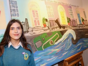 Leah Kavanagh of Mercy Mounthawk with her work. Photo by Dermot Crean