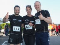 Ciarán Duffin with Helen and Ronan Falvey at the Optimal Fitness Corporate Challenge 10k/5k from Aspen Grove on Friday evening. Photo by Dermot Crean