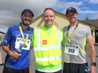 Niall Lucey (centre) with Tim Francony and Maurice Kelter at the 10K & 5K Paul Lucey Memorial Run/Walk 'Run for the Rock' on Monday morning. Photo by Dermot Crean