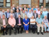 The CBS The Green Class of 1968 Reunite on Friday at the school. Also included is teacher at the time Tom Baker, Brother Whelan, current Principal Anne O'Callaghan and Deputy Principal Robert O'Flaherty. Photo by Dermot Crean