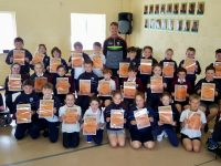 Donnchadh Walsh with the Friends For Life team at Scoil Naomh Erc.