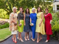 "Mary Stapleton Foley, Joann Murphy, Tina Griffin, Elaine Kelliher, Carol Kennelly and Caroline McEnery photographed at ""An Enchanted Forest"" Irish design showcase with a focus on sustainable fashion, which was held on Midsummer's night , Thursday 21st of June, in the spectacular setting of Sheen Falls Lodge, Kenmare, County Kerry. Photo Credit: Barry Murphy"