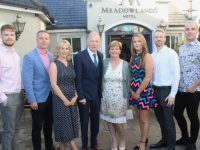 Francis Quill with his family Ronan, Declan, Caroline, Carmel, Louise, Brendan and Fergal at his retirement party at The Meadowlands Hotel on Friday night. Photo by Dermot Crean