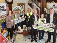 From left; Emily Fitzgerald, Down To Earth; Niall O'Shea from Hugh Jordan; Gillian Wharton of Team Bramble and Tralee Environmental Task Force (TETF); Brian Stephenson TETF; Olive Sheehan, Imperial Hotel; Mary Dolan, Team Bramble and TETF; Tralee Chamber Alliance President Aidan Kelly; Joan O'Regan, Team Bramble and TETF and Derek Carroll, General Manager of Imperial Hotel. Photo by Dermot Crean