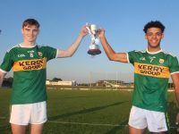 Na Gaeil's Diarmuid O'Connor and Stefan Okunbor with the cup. Photo by Dermot Crean