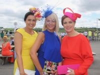 Deirdre Kissane, Ellen O'Reilly and Cathy Dillon at Ladies Day at Listowel Races on Sunday. Photo by Dermot Crean