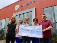 At the presentation of some of the proceeds from the recent Optimal Fitness Corporate Challenge were Michelle Greaney of Optimal Fitness, Audrey Moran of Tralee/West Kerry Branch of MS Society, Jillian O'Sullivan and Joan Crowley of Killarney Branch of MS Society and Ed O'Regan of Aspen Grove. Photo by Dermot Crean