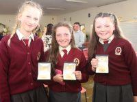 Sara Peterniec, Shania Coffey and Lily O'Brien at graduation night in the Moyderwell Mercy school on Thursday. Photo by Dermot Crean
