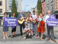 Launching 'Summer Tunes On The Mall' which takes place this Saturday were Renee Fitzgibbon, Aisling Foley of The Rose Hotel, General Manager of The Rose Hotel Mark Sullivan, Gideon Reed, Sheridan Reed, Seamus Harty, Briana Reed, Claire Reed and Lloyd Fitzgibbon. Photo by Dermot Crean