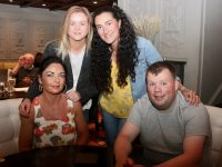 Caroline Kelly, Breda Shanahan, Karima Lopez and Jamesie O'Donoghue at the Sports Quiz in aid of Kerry Hospice on Friday night, part of the Meadowlands Hotel's 20th anniversary celebrations. Photo by Dermot Crean