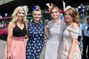 Catherine Rahilly, Emily Keane, Siobhan Rahilly and Lisa Mulvihill at the Dawn Milk Ladies Day at Killarney Races on Thursday. Photo by Dermot Crean