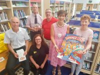 Launching the Summer Stars programme at Castleisland Library on Friday, l-r: Tommy O'Connor (County Librarian), Dawn Kavanagh (Dogs Trust), John Breen (Director of Services), Cllr Bobby O'Connell, Cathaoirleach of Kerry County Council Cllr Norma Foley, Eileen Murphy (Librarian).
