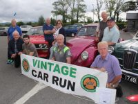 Launching the upcoming vintage run were in front, Timmy Connor, David O'Mahony, Paul Horan, and Mike Horan. At back; George Glover, Joan Glover, Tadhg O'Leary, Mike Moloney and Tony Hehir. Photo by Dermot Crean