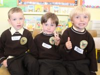 Eli, Rian and Noel on their first day at school in Gaelscoil Mhic Easmainn on Wednesday morning. Photo by Dermot Crean