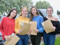 Amy Walsh, Emma Daly, Emma Lynch and Brogan Rogers with their Leaving Cert results at Presentation Tralee on Wednesday morning. Photo by Dermot Crean