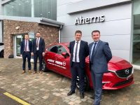 Kieron McCarthy Mazda Ireland, Pat Ahern Dealer Principal, Barry Ryan Sales Manager and David O Brien Sales Executive.