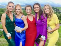 Ava Kelliher, Leona O'Shea, Sharon O'Connor, Aoife Doyle and Kate O'Connor at the Presentation Tralee Students' Debs Ball at Ballyroe Heights Hotel on Tuesday. Photo by Dermot Crean