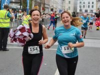 Martina Lawless and Caroline Lynch at the finish of the Rose of Tralee 10k race on Sunday. Photo by Dermot Crean
