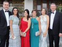 John Tuite, Alanna Maharaj, Judy Dillane, Claire Murphy, Geraldine Lennon and Benny Murphy at the Rose Ball on Friday night. Photo by Dermot Crean