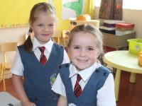 Junior Infants at Scoil Eoin on their first day at school, on Thursday. Photo by Dermot Crean