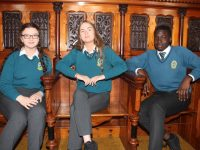Mercy Mounthawk students Kate Waldron, Isabel Curran and Samuel Abubakar at the 'New Life in Old Spaces' symposium at the chapel of the former Balloonagh Convent in Tralee on Friday. Photo by Dermot Crean
