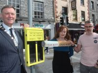 Mayor of Tralee Cllr Graham Spring with Cara Keane and Shane O'Connor of GLAN Tralee  launching the new 'Butt Ballot Bin' initiative on The Mall on Friday. Photo by Dermot Crean