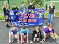 Teachers Karen Tobin and Helen Kelliher with students launching the CBS The Green 5k/3k Fun Run which takes place on September 30. Photo by Dermot Crean