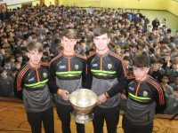 Members of the Kerry minor panel who won the All-Ireland a few weeks ago in Croke Park were honoured at their school, CBS The Green on Thursday. From left; Devon Burns, Joe Linehan, Sean Quilter and Padraig White. Photo by Dermot Crean