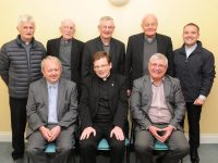 LtoR. Fr. Tadgh Fitzgerald PP, Fr. Bernard Healy  and Fr. Sean Hanafin PP, back left Fr. Niall Geaney, Fr. Dan Ahern, Fr. Ned Barrett, Fr. James Linnane and Fr Sean Jones.