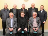 LtoR. Fr. Tadgh Fitzgerald PP, Fr. Bernard Healy  and Fr. Sean Hanafin PP, back left Fr. Niall Geaney, Fr. Dan Ahern, Fr. Ned Barrett, Fr. James Linnane and Fr Sean Jones.