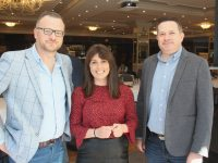Ken Tobin and Tom O'Leary of HQ Tralee with Tracy Keogh, Community Manager at Bank of Ireland at the Grow Remote Conference at The Rose Hotel on Friday morning. Photo by Dermot Crean