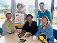 Double Olympic Gold Medal winner Kelly Holmes helps promote next Thursday's Coffee Morning in aid of Kerry Hospice. Included from left are Maura Sullivan and Mary Shanahan of Kerry Hospice, Director of Nursing Marie O'Connell and Andrea O'Donoghue of Kerry Hospice. Photo by Dermot Crean