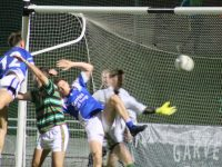 The goal that wasn't...Gavin O'Brien punches the ball to the net but it was disallowed.