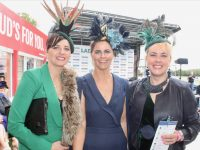 Michelle Mulvihill, Deirdre Kelliher Mulvihill and Sonja Bliessen at McElligott's Honda Ladies Day at Listowel Races on Friday. Photo by Dermot Crean