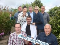 Launching the Recovery Haven 'Movember Challenge' were, in front; Mike Smith and Anthony Clifford. Seated is James Kelly. Back from left; Jamie Blake, Marketing Officer with Recovery Haven Marisa Reidy, Junior Locke, Siobhan McSweeney of Recovery Haven and Brian McCannon. Photo by Dermot Crean