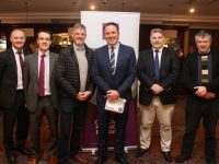 Darragh Long and Paul Mulvihill of AIB, Louis Byrne of SPAR Caherslee and Oakpark, Colin Boyle of The Ashe Hotel, Regional Manager of AIB Sean Healy and John O'Connor of Prestige Foods Listowel at the AIB 'Planning For Your Future' event at The Ashe Hotel on Tuesday evening. Photo by Dermot Crean
