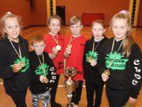 Mini-Mayhem who won 1st at the All-Ireland Hip-Hop Dance Championships recently. From left; Nicole Arefjeva, Rian Duffy, Tanisha Horan, Timmy Kerins, Aine Fitzmaurice and Emma O'Sullivan. Photo by Dermot Crean