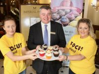 Shannon and Denise Hanbidge of Dee's Delightful Bakes with General Manager of The Imperial Hotel Derek Carroll looking forward to the cake/coffee morning next week in aid of Focus Ireland. Photo by Dermot Crean