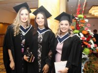 Zeta Ashe, Hannah O'Halloran and Catriona Walsh (Business Studies) at the IT Tralee Graduation Ceremony at the Brandon Conference Centre on Friday. Photo by Dermot Crean