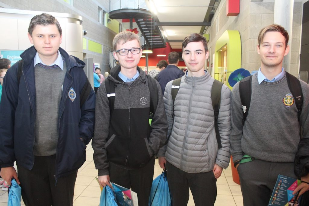 CBS The Green students Micheal Quirke, Tyler O'Sullivan, Jayden Morcombe and Dawid Kapkowski at the IT Tralee Open Day on Friday morning.