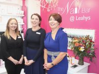 Tara Ryan, Claire Kelly and special guest Mary O'Donnell  at the Customer Night and opening of The Nail Bar in Leahy's Pharmacy on Thursday. Photo by Dermot Crean