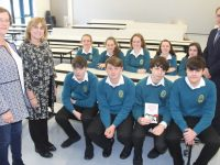 Chairperson of the Parents Council Kathleen Holmes, with author and Education Consultant Catherine O'Connor with some Mercy Mounthawk students and Deputy Principal Pat Fleming prior to Catherine's talk to an hall full of senior cycle students on Thursday. Photo by Dermot Crean
